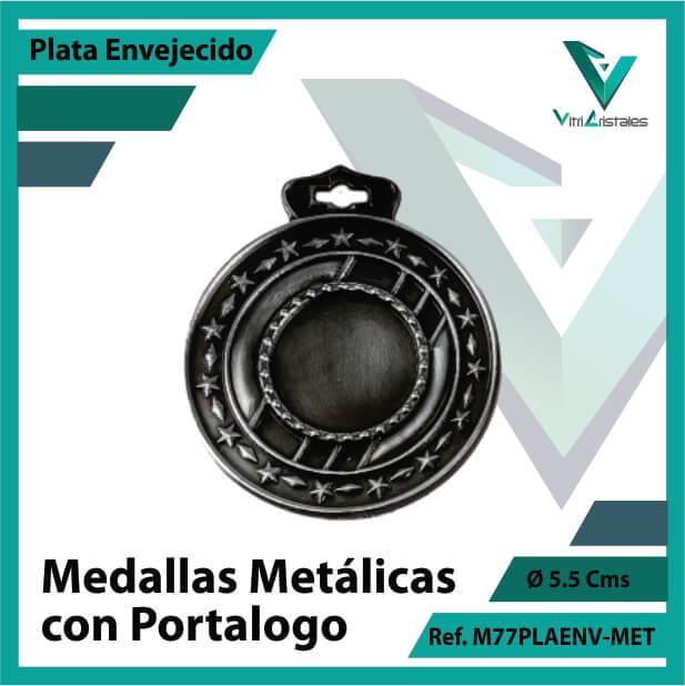 medallas en cali metalicas con portalogo color plata envejecido ref m77plaenv-met