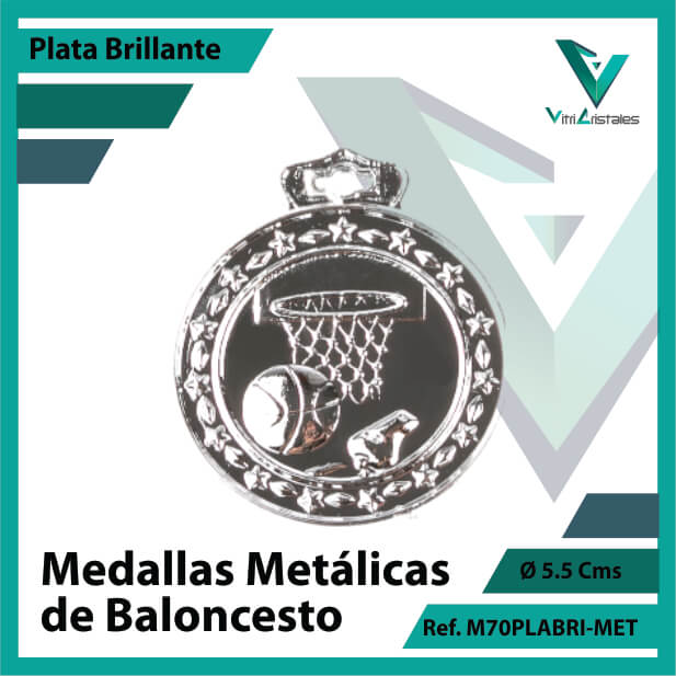 medallas en medellin de baloncesto metalicas color plata brillante ref m70plabri-met