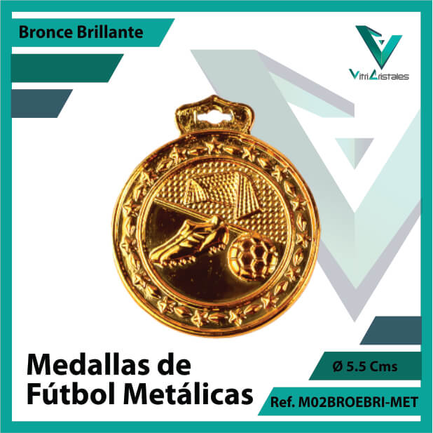 medallas en medellin de futbol metalicas color bronce brillante ref m02brobri-met