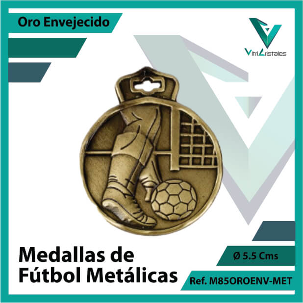 medallas en medellin de futbol metalicas color oro envejecido ref m85oroenv-met