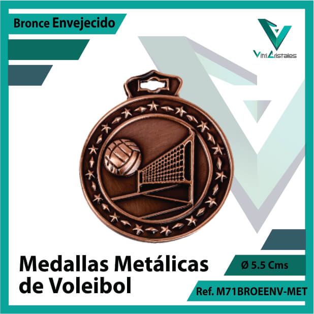 medallas en medellin de voleibol metalicas color bronce envejecido ref m71broenv-met