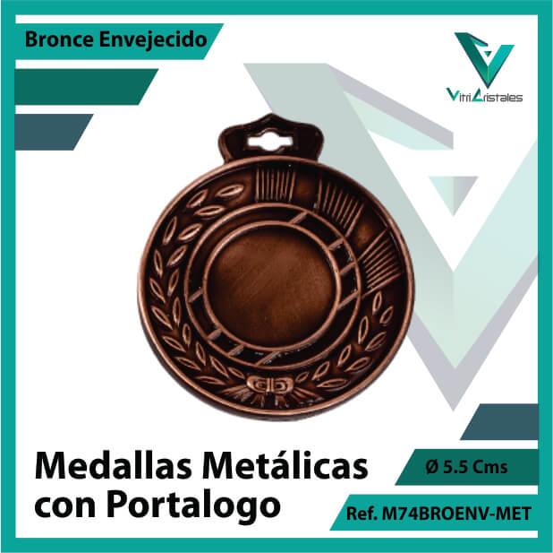 medallas en medellin metalicas con portalogo color bronce envejecido ref m74broenv-met