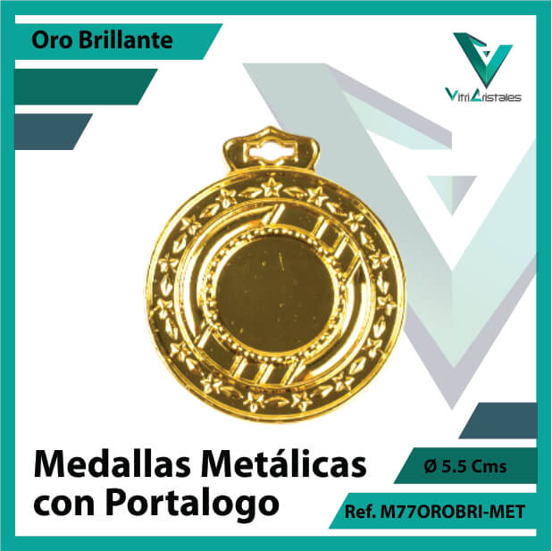 medallas en medellin metalicas con portalogo color oro brillante ref m77orobri-met