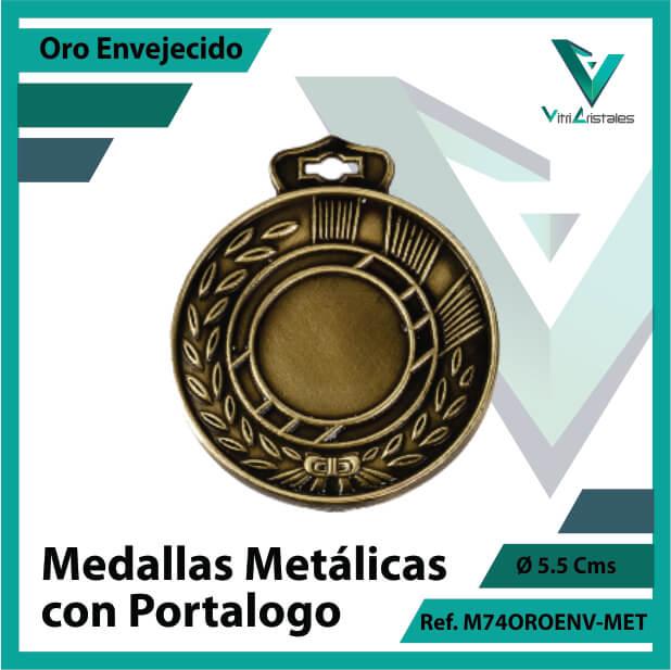 medallas en medellin metalicas con portalogo color oro envejecido ref m74oroenv-met