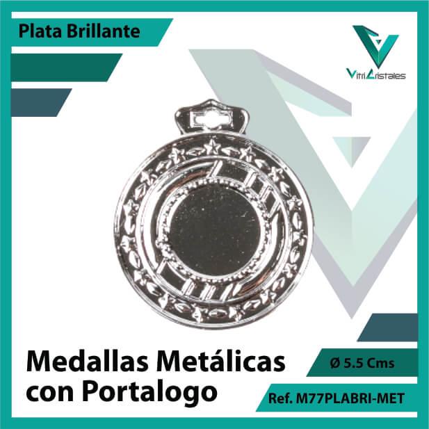 medallas en medellin metalicas con portalogo color plata brillante ref m77plabri-met