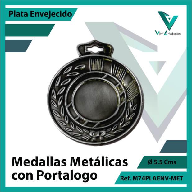 medallas en medellin metalicas con portalogo color plata envejecido ref m74plaenv-met