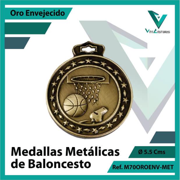 medallas en oro de baloncesto metalicas color oro envejecido ref m70oroenv-met