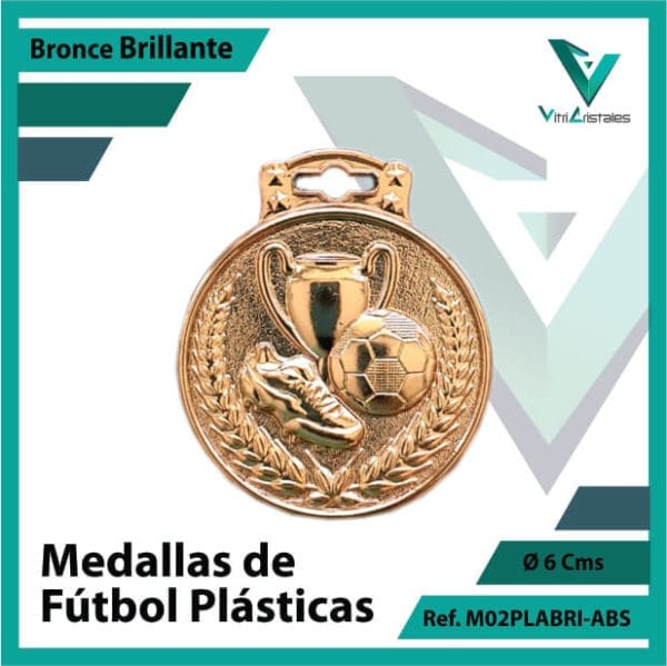 medallas para niños de futbol plasticas bronce brillante ref m02brobri-abs