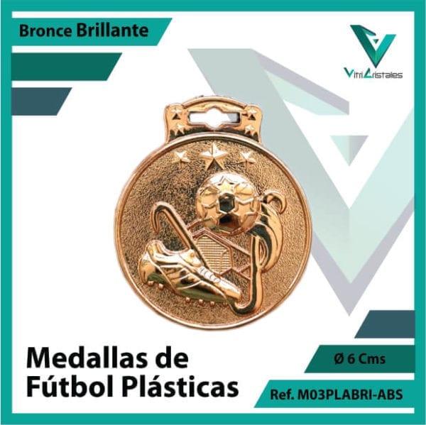 medallas para niños de futbol plasticas bronce brillante ref m03brobri-abs