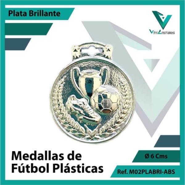 medallas para niños de futbol plasticas plata brillante ref m02plabri-abs