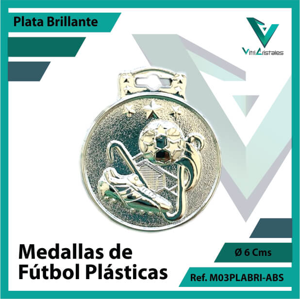 medallas para niños de futbol plasticas plata brillante ref m03plabri-abs