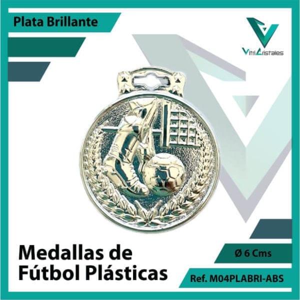 medallas para niños de futbol plasticas plata brillante ref m04plabri-abs