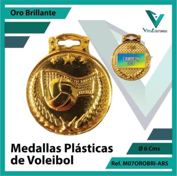 medallas para niños de voleibol plasticas oro brillante ref m07orobri-abs