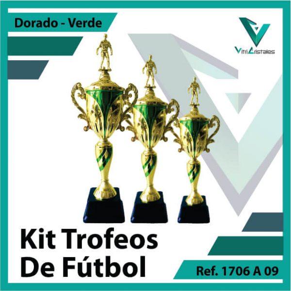 Kit Trofeos deportivos de futbol campeon, subcampeon y tercer puesto Ref.1706A09K123ORV para entrega en Bogotá