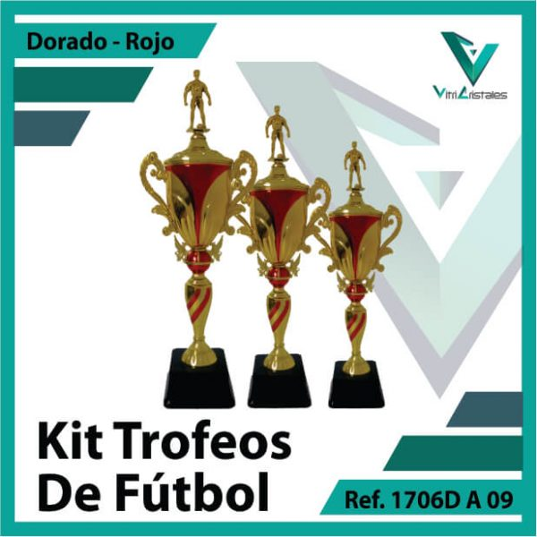 Kit Trofeos deportivos de futbol campeon, subcampeon y tercer puesto Ref.1706DA09K123ORR para entrega en Cali