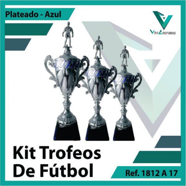 Kit Trofeos deportivos de futbol campeon, subcampeon y tercer puesto Ref.1812A17K123PLA para entrega en Medellin
