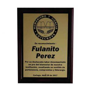 placa de reconocimiento en madera con bronce laserable
