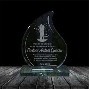 placa en vidrio para regalo de aniversario forma flame