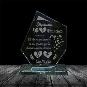 placa en vidrio para regalo de aniversario forma hielo
