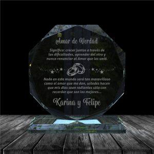 placa en vidrio para regalo de aniversario forma octagono