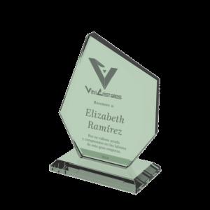 trofeo en vidrio epsilon en 19mm con grabado laser